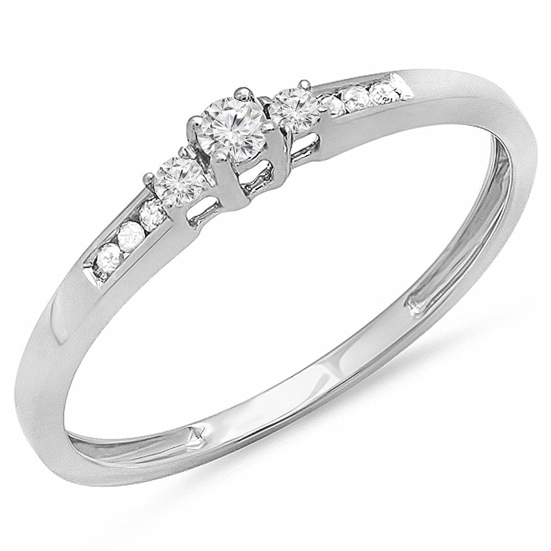 0.13 Carat (ctw) 10K Gold Round Diamond Ladies Bridal Promise 3 Stone Engagement Ring