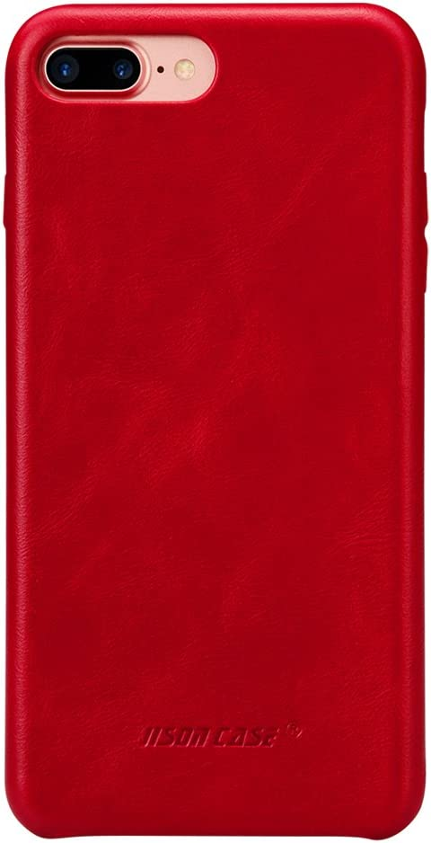 JISONCASE iPhone 7 Plus Case, iPhone 8 Plus Leather Case, Slim Back Cover Snap Grip Case for Apple iPhone 7 Plus / 8 Plus 5.5 inches, Red (TC-I8L-04A30)