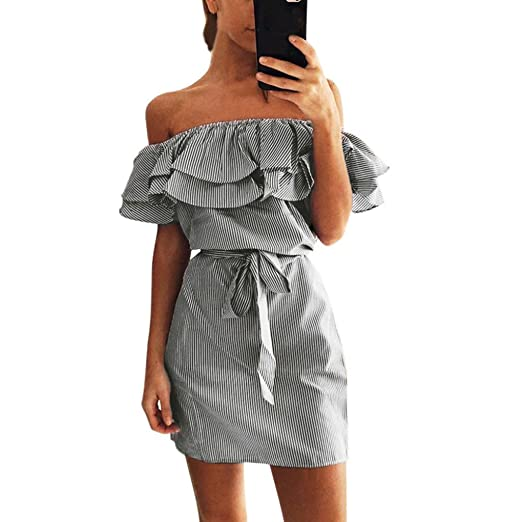 Image Unavailable. Image not available for. Color  Women Summer Off Shouder  Mini Sleeveless Dress Evening Striped Ruffle Dress with Belt Bow Tie Button 1f0291658