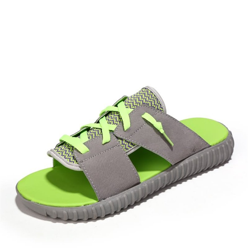 Jiuyue-schuhe, Herrenmode Slipper Flache Ferse Mode Freizeitschuhe,Herren Sandalen (Farbe : 43 schwarz ROT, Größe : 43 : EU) Gray Grün 42db11