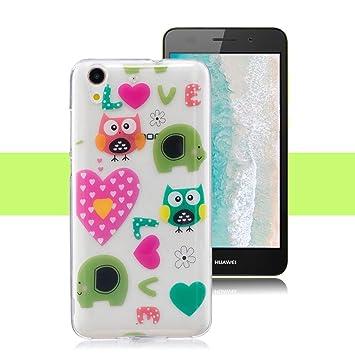 Yunbaozi Funda para Huawei Y6 II/Y6 2, Carcasa de Silicona Flexible Suave Transparente TPU Case - Amor búho