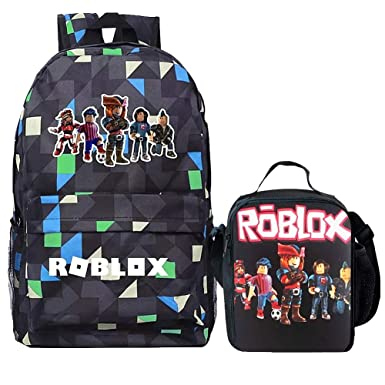 b8e6afefc12f Boy Girl Kid Roblox Backpack Insulated Lunch Box School Travel Grid One size