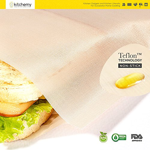2018 UPGRADED 12 Pack Toaster Bags Reusable for Grilled Cheese Sandwich | Safest On The Market - FDA & LFGB Approved - 100% BPA & Gluten Free | Non Stick Toast Bag Made of Premium Quality Teflon by Kitchemy (Image #3)