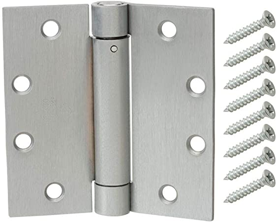 Door Hinges 3-1//2 in Satin Chrome Adjustable Spring Automatic Self-Closing