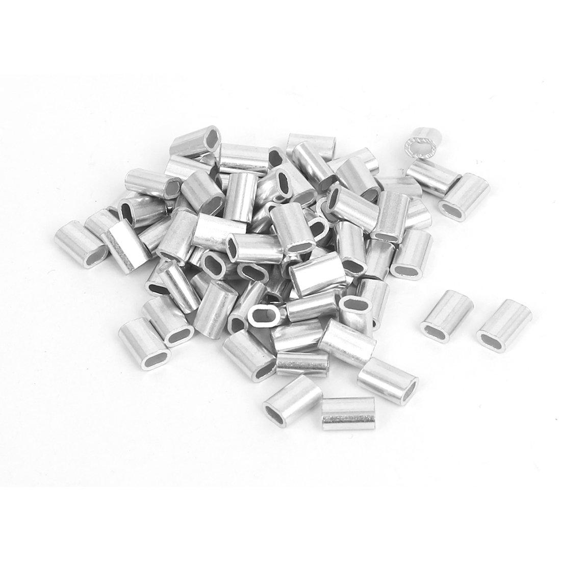 sourcingmap® 80pcs M1.5 Oval Aluminum Clip Ferrule Manches pour 1.5mm Câble Corde a15121800ux0251