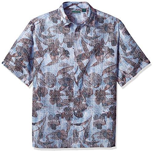 (Cubavera Men's Big Short Sleeve Linen-Blend Tropical Floral Print Button-Down Shirt, Malibu Blue, 4X-Large Tall)