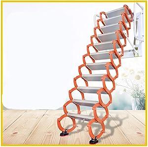 Aluminum Alloy Household Retractable Ladder for Loft Home Folding Step Ladder Attic pulldown Ladder Hinge (Vertical Height 3.2 m)