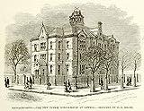 1875 Wood Engraving Public School Schoolhouse