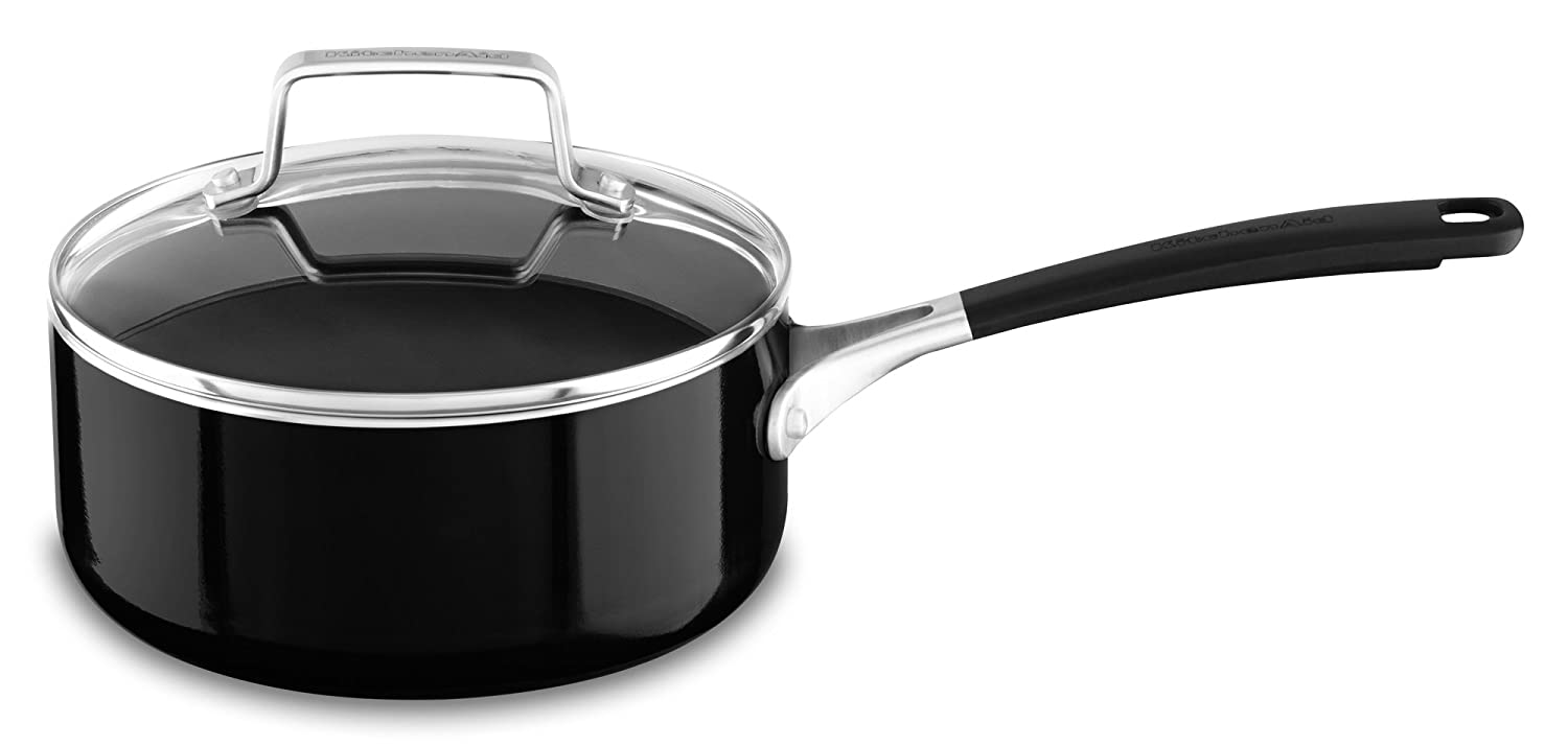 KitchenAid KC2A20PLOB Aluminum Nonstick 2.0 quart Saucepan with Lid - Onyx Black, Medium
