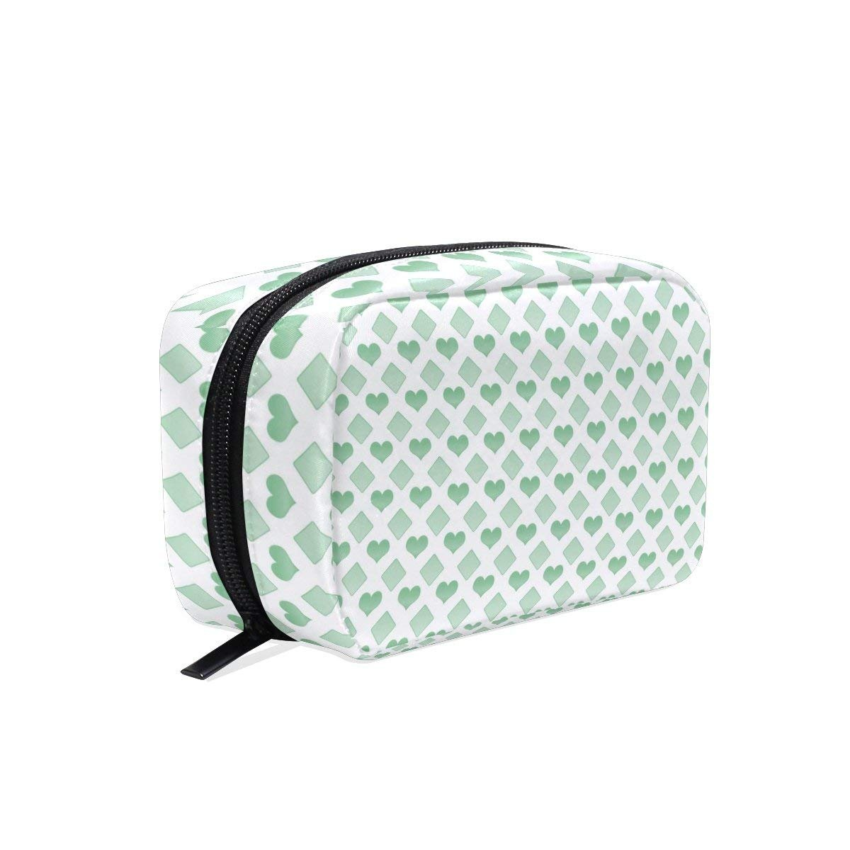 Green Love Makeup Bag Multi Compartment Pouch Storage Cosmetic Bags for Women Travel