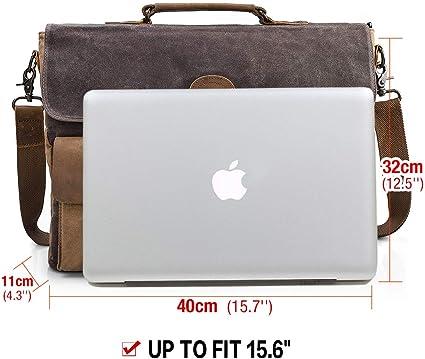 NEWHEY Borsa Tracolla Uomo 15.6 PC Impermeabile Vintage Lavoro Messenger Borse Tela Pelle universit/à Ufficio Scuola Grigio