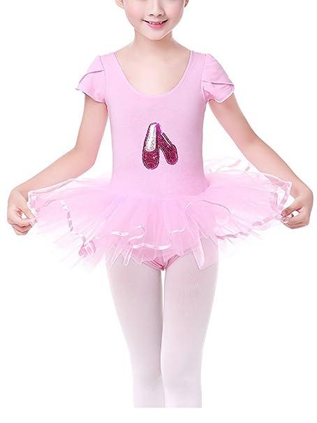 Happy Cherry - Vestido de Danza Ballet con Tutú con Mangas Cortas y Braga Interior Rosa