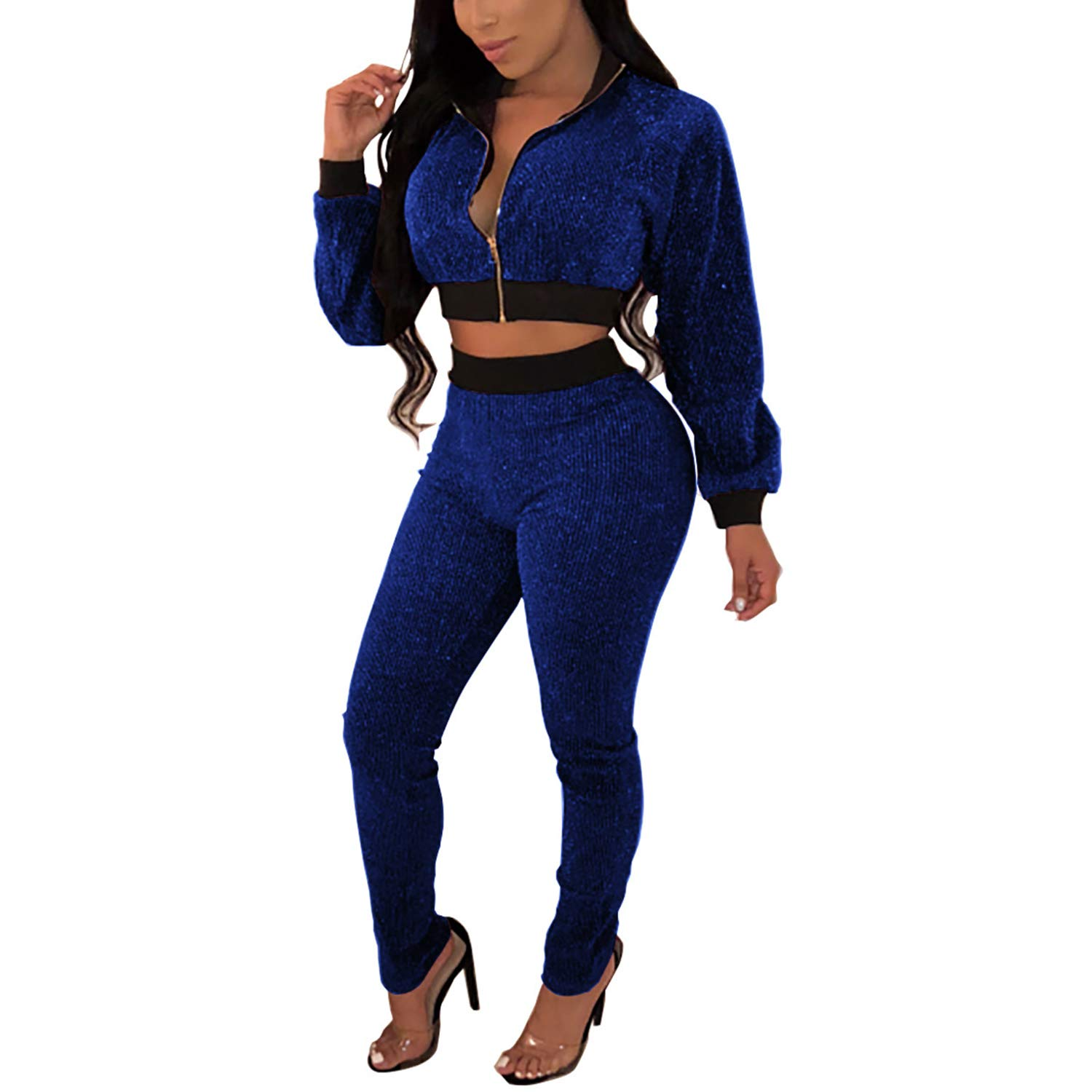 Bodycon Club Outfits Sequins Crop Top Zipper Jackets Long Pants Sweatsuit Blue L by Sherro