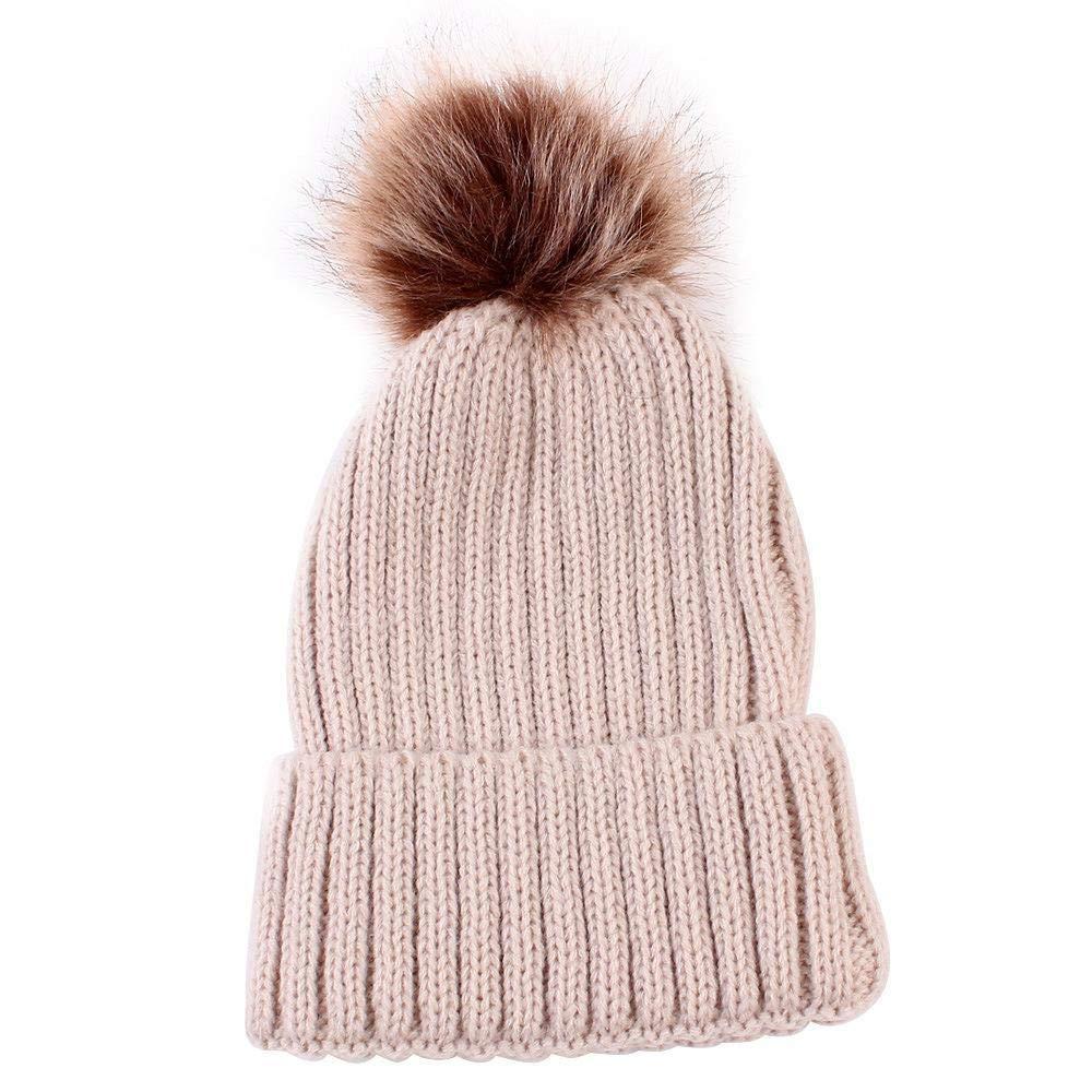 b9604e58c Amazon.com: Myzixuan Autumn and Winter New Children's Wool Knit Cap Baby  Warm hat Baby Cute Ball Ear Cap: Garden & Outdoor