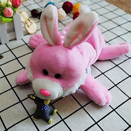 YOURNELO Cute Cartoon Plush Animals Toy Pencil Bag Pen Case Multi-Functional Felt Pouch Zipper Bag for Pens Pencils Holder Desk Organizer Accessories (Rabbit Pink)