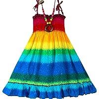 Geekercity Girls Bohemian Dresses Floral Sleeveless Rainbow Beach Sundress with Necklace