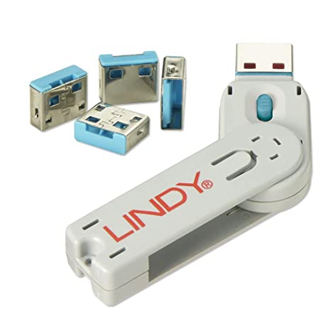 Lindy USB Port Blocker - Pack of 4, Blue (40452) USB Port Cards at amazon