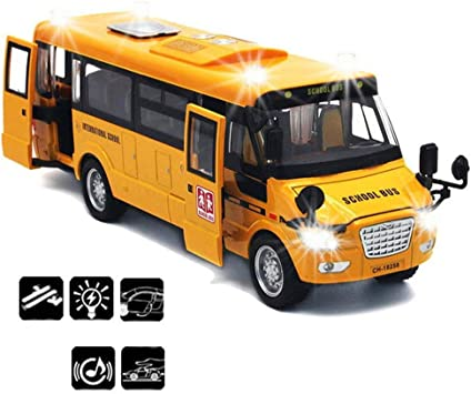 CORPER TOYS Die Cast Vehicles Large Alloy Pull Back Play Bus 9 inches Yellow School Bus Toy with Sounds and Lights for Kids Children