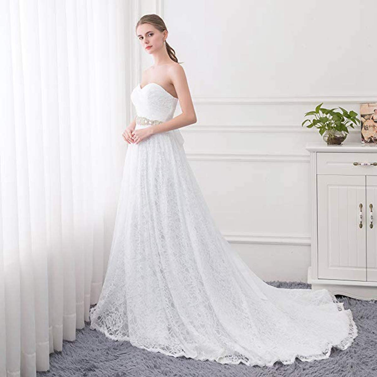 Beautyprom Womens Ball Gown Lace Bridal Wedding Dresses