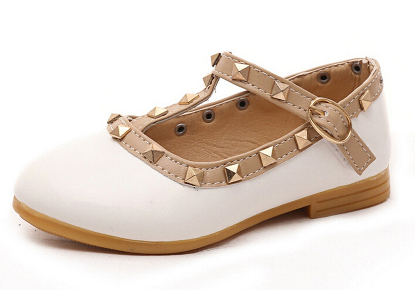 Bumud Girls Toddler T-Strap Flat Shoes Little Kids Mary Jane Studded Shoes (8 M US Toddler, White)