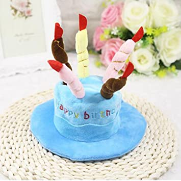 Zyurong Dog Happy Birthday Hat With Cake Candles Design Party Costume Accessory Headwear Pink