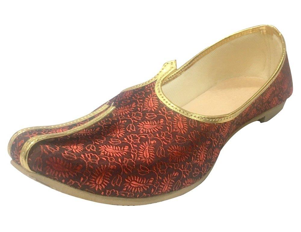 Step n Style Mens Mehroon Sherwani Jutti Wedding Shoes Indian Shoes Ethnic Shoes Mojari Juti,Mehroon,11.5 D(M) US