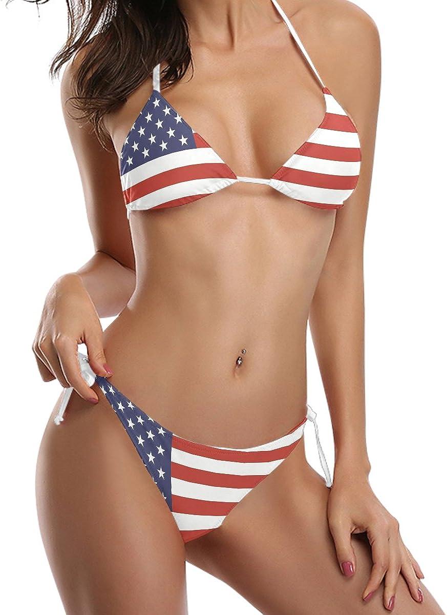 COOSUN Juego de la bandera americana bikini traje de corbata parte acolchada de baño bikini dos piezas de baño: Amazon.es: Ropa y accesorios