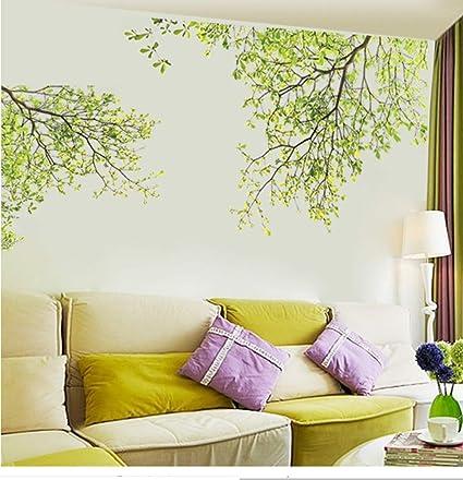 Foglie verdi Rami degli alberi Stickers murali Tv Sfondo Soggiorno Camera  da letto Decorazioni per pareti Poster Grafica verde Scene Wallpaper  Sticker ...