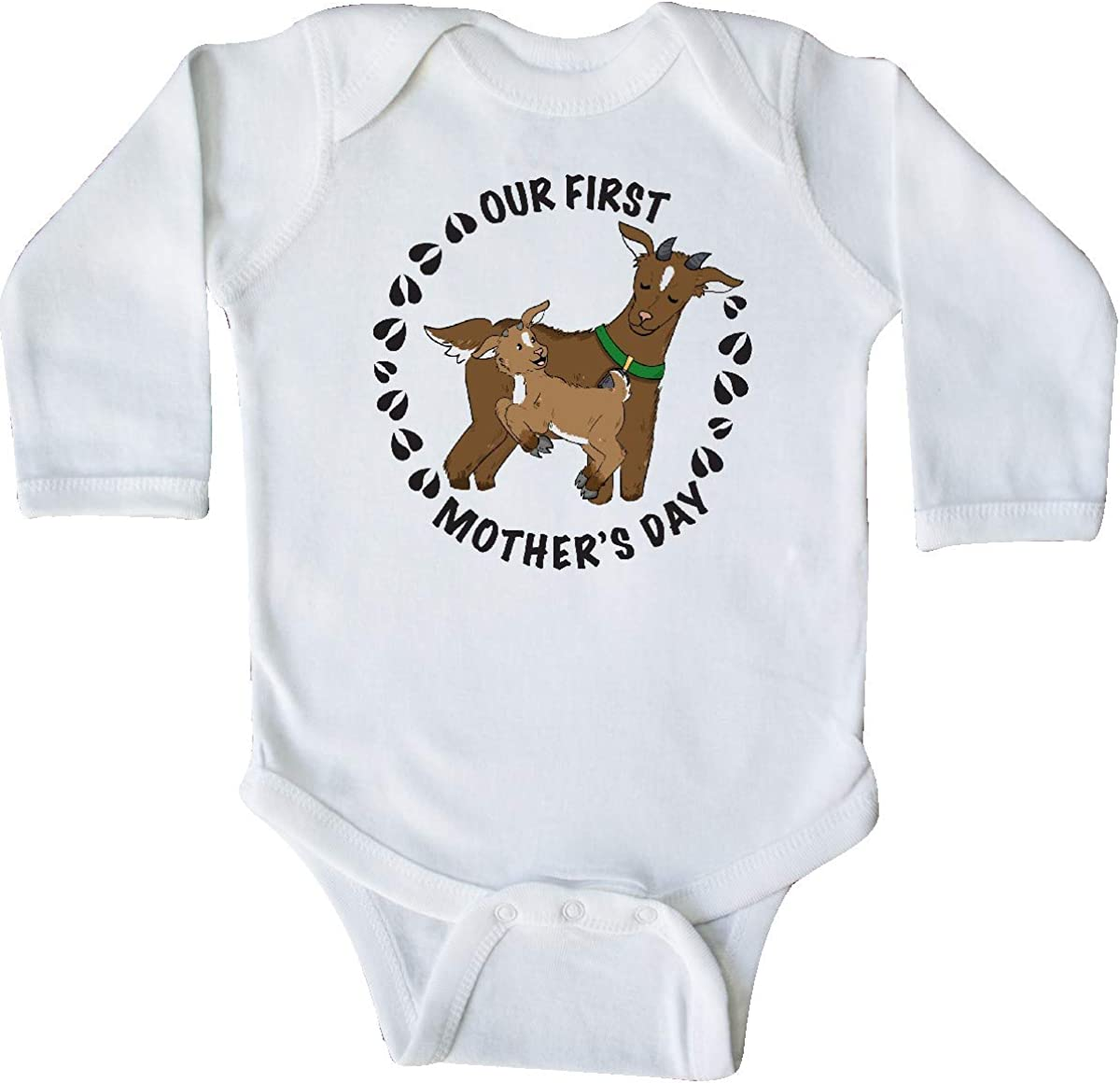 inktastic Our First Mothers Day with Cute Goats Long Sleeve Creeper