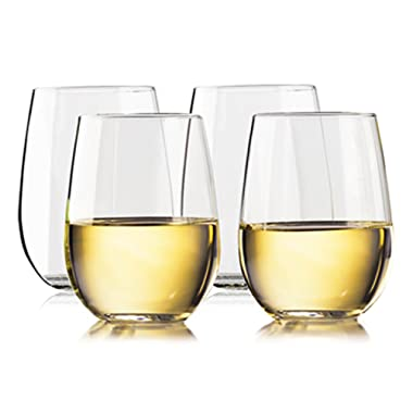 TaZa Unbreakable Stemless Wine Glasses: Elegant Shatterproof Tritan Plastic Outdoor Cups with Weighted Base | Dishwasher-Safe | Smooth Rims | 16 Ounce | Set of 4