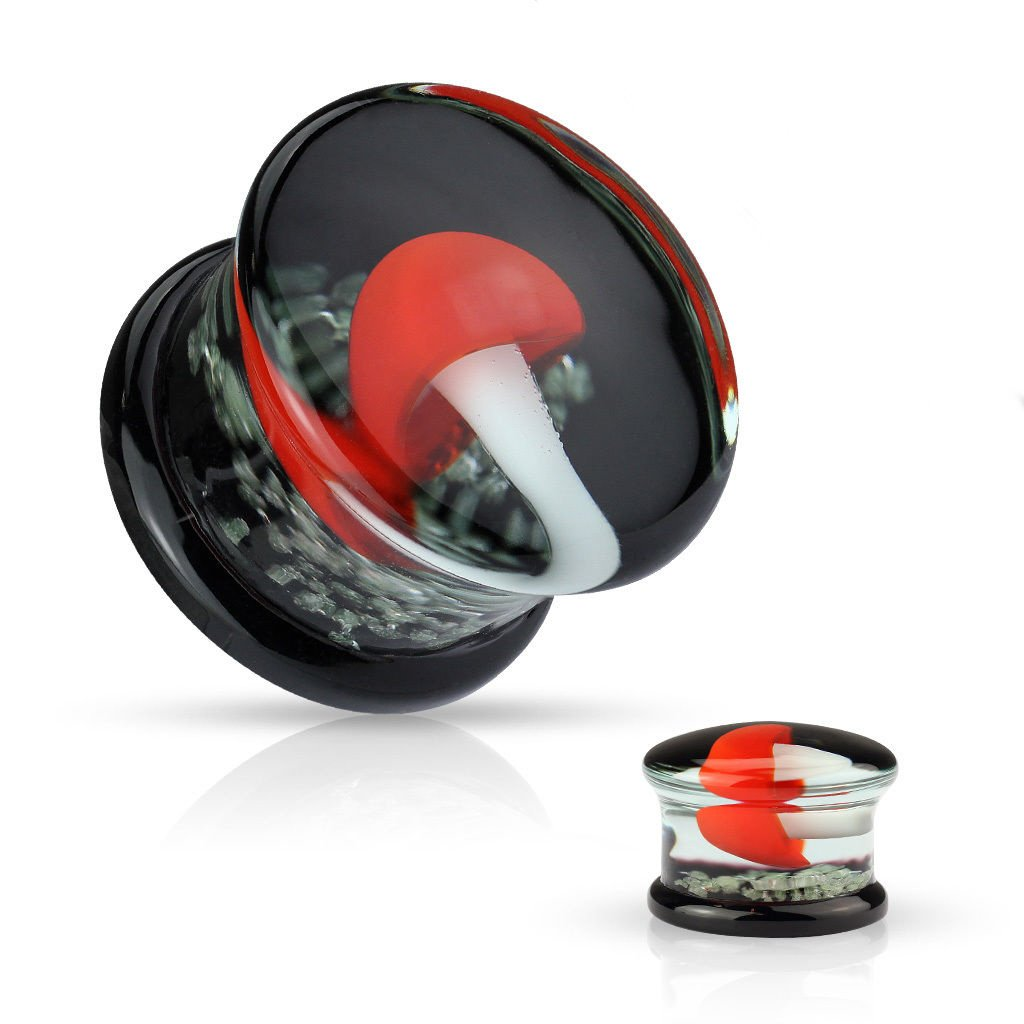 PAIR of Floating Red Mushroom Pyrex Glass Double Flare Plugs with Glow in the Dark Background (6mm (2g))