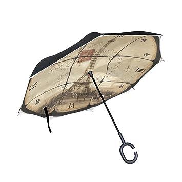 BENNIGIRY Eiffel Toalla Doble Capa Inversionado Paraguas Reverso Plegable Paraguas por Resistente al Viento UV Protección
