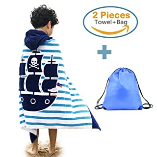 100% Cotton Hooded Beach Bath Towel and Bag Set Large for Kids/Poncho Swim Beach Towel Pirate Ship Pattern 4-14 Years