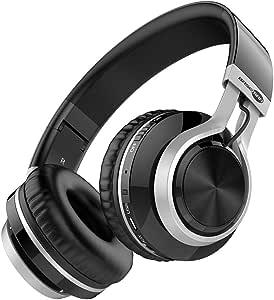 Baseman Wireless Bluetooth Headphones with Mic, On Ear Lightweight Foldable Wired Headphones, Hi-Fi Stereo Earphones Deep Bass Over Ear Headphone for Music Computer Laptop TV PC Kids(Black Silver)