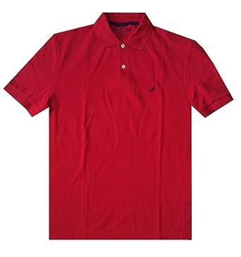 Nautica Men Classic Fit Polo Pique T-Shirt (L, Red): Amazon.es ...