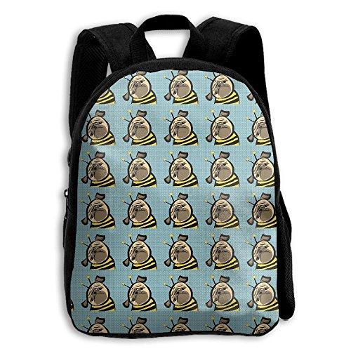 Bee Pug Dogs Boys Girls Popular Printing Toddler Kid Pre School Backpack Bags Lightweight