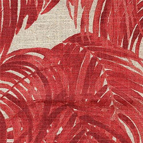 Reversible Duvet Cover Villa Garnet Palm Leaf Red Linen