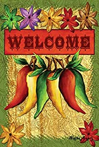 "Toland Home Garden 1110504 ""Welcome Peppers Fall/Otoño 'decorativa bandera de Jardín, tela, S-12.5 x 18"""