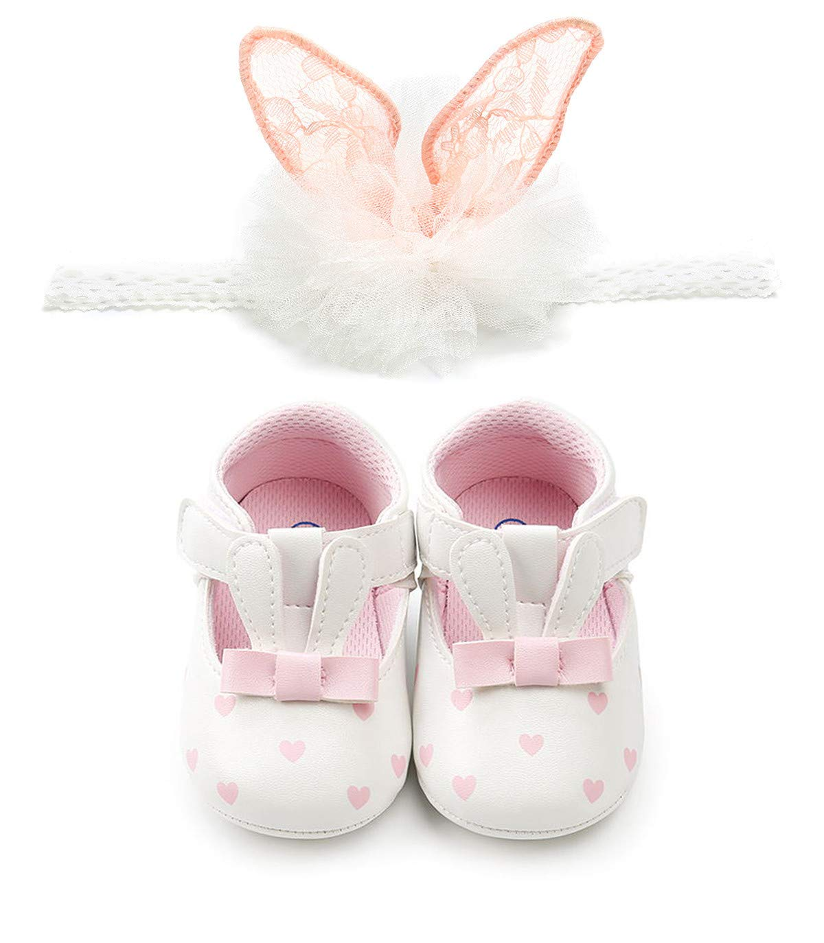 Baby Girls Princess Mary Jane Shoes Infant First Walker Shoes (12cm(6-12 months), A-White)