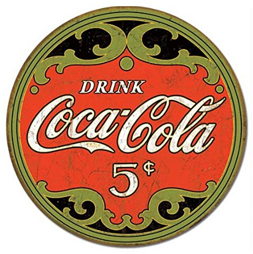 Coca-Cola Round 5 Cents Tin Sign 12 x 12in