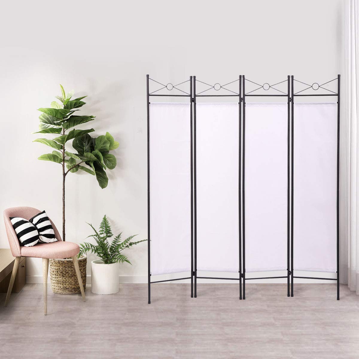 BWM.Co 4 Panel Room Divider Folding Privacy Screen Steel Frame Freestanding Partition Divider for Office, Living Room, White by BWM.Co