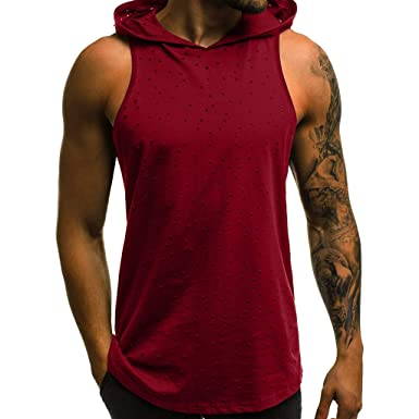 Men Tank Tops Sleeveless Fitness Muscle Hole Hooded Bodybuilding Tight-Drying at Amazon Mens Clothing store: