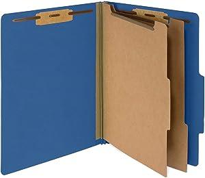 Blue Summit Supplies 30 Letter Size Dark Blue Classification Folders, 2 Dividers, 2 Inch Tyvek Expansions, Durable 2 Prongs, Letter Size, Dark Blue Color, 30 Pack