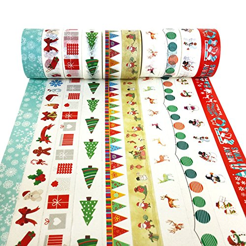 XYBAGS Christmas Decorative Washi Tape,Set of 10 Rolls, Assortment of Christmas Holiday Designs & Shapes (Style -