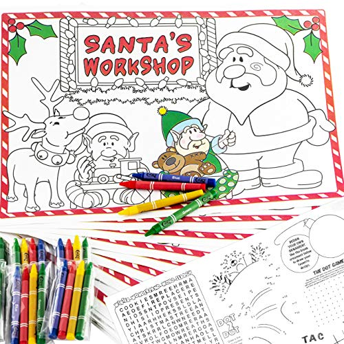 Interactive Xmas Kids 200 Paper Placemats and 50-4 Pk Crayons Set. Disposable, Eco Friendly Activity Mats With Coloring Space. Non Toxic, BPA and Lead Free Commercial Restaurant-Grade Dinner Supply -