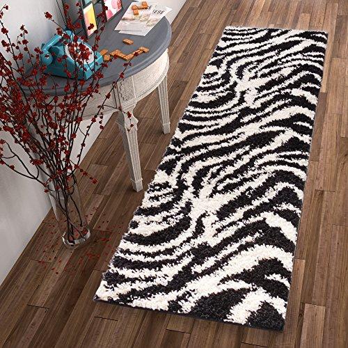 Zebra Print Runner - Modern Animal Print 2x7 (2'' x 7'3'' Runner) Area Rug Shag Zebra Black & Ivory Plush Easy Care Thick Soft Plush Living Room