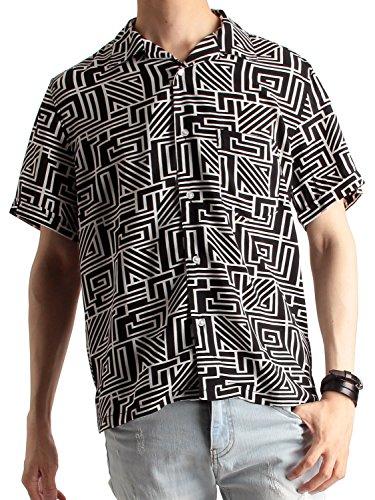 強化アレンジ神秘的な(ラフタス) Rafftas 半袖 幾何学柄 オープンカラーシャツ メンズ 開襟シャツ 幾何学柄シャツ