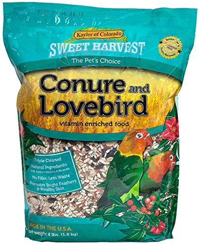 Sweet Harvest Conure and Lovebird Bird Food, 4 lbs Bag - Seed Mix for Conures and ()