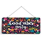 100yellow® Good Vibes Only Printed Home Wall Door Sign Hanging (Wooden, 5 X 11 Inch)