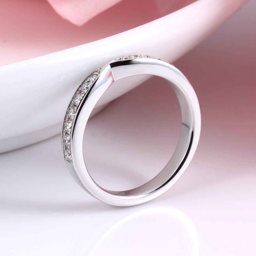 DOVEGGS 2.85MM Width Moissanite Diamond Half Eternity Anniversary Wedding Band Ring Platinum Plated Silver